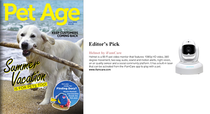 iFamCare Helmet on Pet Age magazine